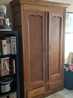 Antique Wooden Armoire Dresser with skeleton key lock -Two Drawers