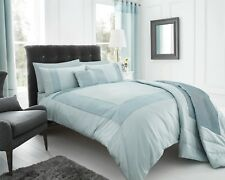 "DOUBLE SIZE QUILT COVER SET ""PEARL"" - DUCK EGG BLUE- FAUX SILK EFFECT"