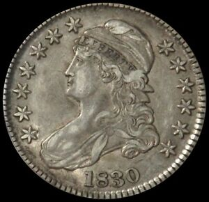 1830 SILVER SMALL O DAPPED BUST HALF DOLLAR ABOUT UNC