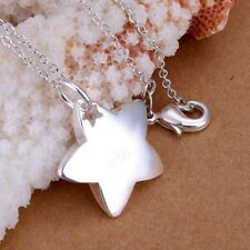 925 Sterling Silver Plated Star Pendant Necklace + Free Gift Bag.