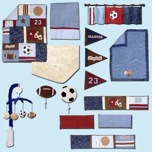 12 pc. Play Ball Sports Crib Bedding Set by NoJo- Bumper, Blanket & Mobile