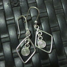 Earrings Hill Tribe Fine Silver Round Spiral Chandelier er026