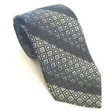 Nicole Miller Necktie Silk Black Gray Geometric Diagonal Stripe