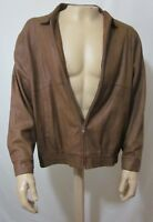 Remy Leather Fashions Mens Soft Brown Bomber Jacket Coat size 44 Vtg Made in USA