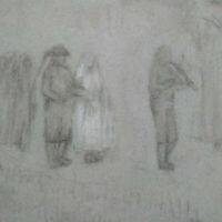 Dessin années 1930 - 1940 procession mariage breton esquisse au fusain musicien