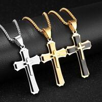 Top Herren Edelstahl Kette Halskette Kreuz Cross Anhänger - silber/gold/schwarz