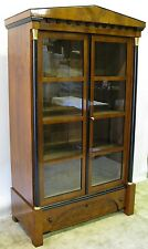 1830's Biedermeier Architectural Style Bookcase Cherry Veneers & Ebonized Detail