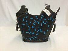 Brown W/Turquoise Inlay Ropin West Concealed Carry Purse, Style E8472