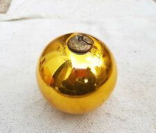 "1920s VINTAGE 4"" GOLDEN GLASS HEAVY CHRISTMAS KUGEL/ORNAMENT, GERMANY"