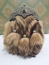 Scottish Highland Full Dress Kilt Sporran Formal Fox Fur Celtic Cantle Antique