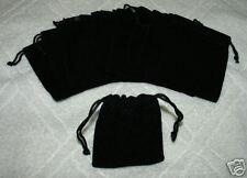 (10) MEDIUM VELVET BLACK  POUCHES  WITH DRAWSTRINGS