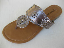 Pierre Dumas Womens Shoes $39 Rosetta Platinum Pewter Slide Sandal Thong 10 M