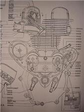 1953 Matchless G9 500cc engine cutaway parts poster