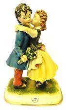 Vintage CapoDiMonte Figurine Porcelain Girl Boy Kissing Lovers Couple Italy Love