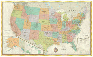 """RMC 32"""" x 50"""" United States Wall Map Classic Series Earth Tone Wall Mural Decor"""