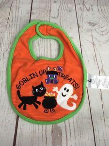 Halloween Bib Goblin Up Treats Orange Black Cat Ghost Koala Baby Feeding