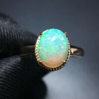 1.88ct Oval Shaped Natural Fire Australian Solid Opal Ring in 14K Yellow Gold