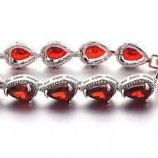 HUCHE Ruby Red Sapphire Garnet 18K Silver Gold Filled Lady Women Bracelet Bangle