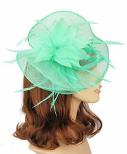 Peppermint Green Sinamay Large Fan Shaped Hair Fascinator Feather Flower - clip