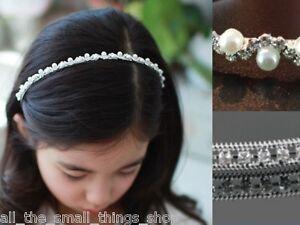 Child's Diamante Crystal Pearl Tiara Headband Hairband Alice band Bridesmaid