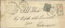 Italy Sc#54(single frank) DAVOLI 25/AGO/91 Registered(label) to Catanzaro