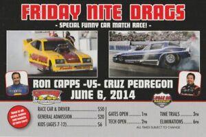 2014 Ron Capps vs Cruz Pedregon Nostalgia Drag Goodguys Indy NHRA Handout