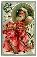 Tuck ~Antique Christmas Postcard-White Hood~Santa Claus with~Girls-a408