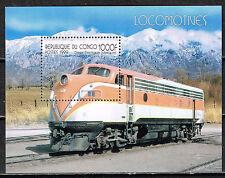 Congo Railroads Mountain Disel Locomotive 1999 Souvenir Sheet MNH