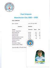 Paul Simpson Manchester City 1982-1989 Original Signé Figurine PANINI vignette