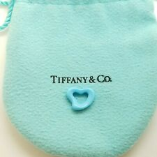 Tiffany & Co. Peretti Blue Turquoise Hand Carved Small Open Heart Pendant Pouch