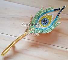 Green Blue Peacock Feather Brooch Gold Pin Rhinestone Diamante Bling