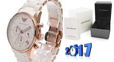 Nuevo Genuino EMPORIO ARMANI AR5920 Blanco Cronógrafo Reloj de señoras para mujer de silicona