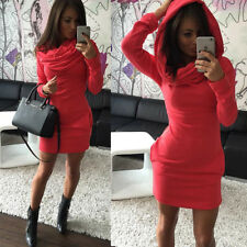 Sexy Women Red Casual Warm Party Warm Slim Pocket Mini Dress With Hood Fashion