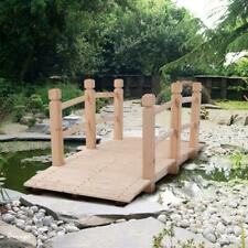 More details for wooden garden bridge lawn décor stained finish arc outdoor pond walkway