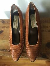 "8 M Mootsies Tootsies Brown Leather woven pumps 2"" block heel Brazil"