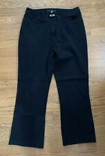 Jenne Maag Black Stretch Cotton Pants Size L Bamboo Button