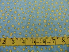 Yellow Stars on Blue Backing Baby Cotton Fabric