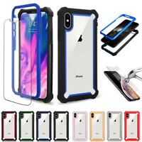 Hybrid Heavy Duty Clear Case Cover+Tempered Glass For iPhone XS Max XR 7 8 Plus