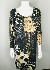 YANSI FUGEL Black Multi Size Medium 3/4 Sleeve Dress