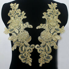 Mirror Pair Embroidered Corded Gold Metallic Appliques/Patch Lace Trim Motif