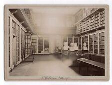 PHOTO ANCIENNE Bibliothèque Besançon Sculptures Vers 1900 Livres Salle lecture