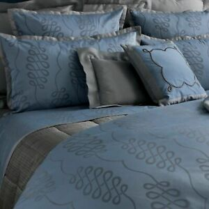 Yves Delorme Queen Flat Sheet Blue Grey Calligraphie Egyptian Cotton Sateen NEW