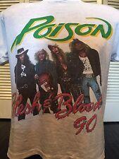 Rare Vtg 90 Poison Warrant Tour Shirt Sz L Ratt Kix Dokken Vixen Metal Crue Dio