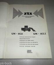 Teilekatalog / Spare Parts List ZTS Radlader UN-053.1 / UN-053.2 Stand 1980