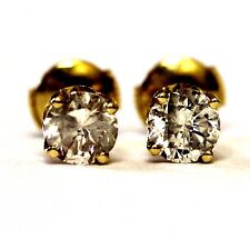 14k yellow gold 1.47ct SI2 H round clarity enhanced diamond stud earrings 1.7g