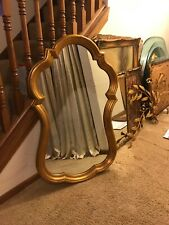 Vintage Gold Florentine Italian Gold Gilt Carved Wood Wooden Wall Mirror 44�
