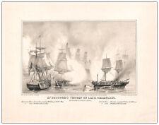 BATTLE OF LAKE CHAMPLAIN War of 1812 Lithograph Expert Digital Restoration RP