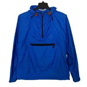 L.L. BEAN Windbreaker Rain Jacket Pullover Top Zip Pockets Pull Cord Hem & Hood