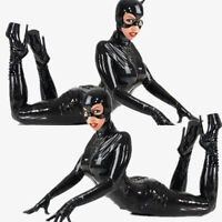 Halloween New Black Sexy Catwoman Costume Latex Faux Leather Bodysuit Uniform