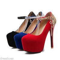 Women's High Heels Shiny Glitter Ankle Straps Platform Shoes Pumps AU Size D127